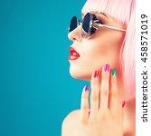 beautiful woman wearing... | Shutterstock . vector #458571019