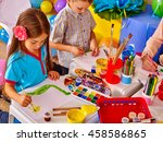 two children girl and boy with... | Shutterstock . vector #458586865
