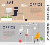 office interior with designer... | Shutterstock .eps vector #458591515