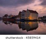 Granary Island and ship Soldek in Gdansk, Poland. - stock photo