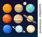 icons of the planet of the... | Shutterstock .eps vector #458600995