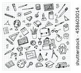 school background with hand...   Shutterstock .eps vector #458603014