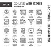 vector set of digital marketing ... | Shutterstock .eps vector #458614069