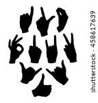 silhouette gestures hands... | Shutterstock .eps vector #458617639