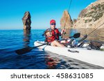 fisherman on the boat kayak... | Shutterstock . vector #458631085
