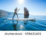 stand up paddle boarding. young ... | Shutterstock . vector #458631601