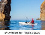 a man fishing on a kayak boat... | Shutterstock . vector #458631607