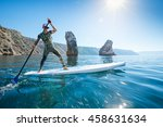 stand up paddle boarding. young ... | Shutterstock . vector #458631634