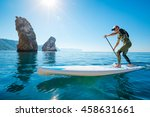 stand up paddle boarding. young ... | Shutterstock . vector #458631661