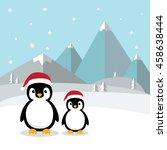 cute penguins standing on white ... | Shutterstock .eps vector #458638444