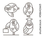 Set Of Owl Icons Isolated On...