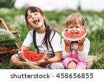 the little girl eating... | Shutterstock . vector #458656855