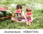 the little girl eating... | Shutterstock . vector #458657341
