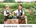 the little girl eating... | Shutterstock . vector #458657431