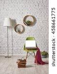 modern white brick wall...   Shutterstock . vector #458661775