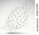 dimensional wireframe object ... | Shutterstock . vector #458672989