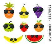 fruit and berry set sunglasses... | Shutterstock .eps vector #458675911
