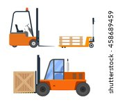Forklift Truck Set Vector...