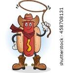 hot dog cowboy cartoon character | Shutterstock .eps vector #458708131