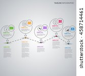 time line info graphic with... | Shutterstock .eps vector #458714461