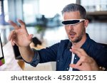 man wearing virtual glass in... | Shutterstock . vector #458720515