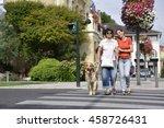 senior blind woman crossing the ... | Shutterstock . vector #458726431
