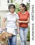 senior blind woman walking with ... | Shutterstock . vector #458726461