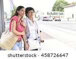 senior woman with home carer... | Shutterstock . vector #458726647
