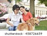 blind woman and homecarer...   Shutterstock . vector #458726659
