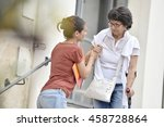 home carer helping disabled... | Shutterstock . vector #458728864