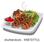 illustration of grilled lamb... | Shutterstock .eps vector #458737711