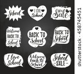 vector set of vintage back to... | Shutterstock .eps vector #458745451