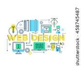 web design work process from... | Shutterstock .eps vector #458745487