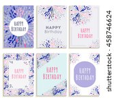 set of greeting cards happy... | Shutterstock .eps vector #458746624