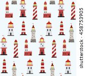 seamless marine pattern with... | Shutterstock .eps vector #458753905
