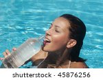 young woman drinking water in a ... | Shutterstock . vector #45876256