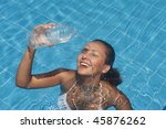 young woman refreshing at the... | Shutterstock . vector #45876262