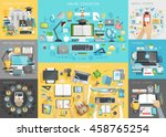 online education set. mobile... | Shutterstock .eps vector #458765254