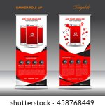 red roll up banner  template... | Shutterstock .eps vector #458768449
