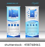 blue roll up banner  template... | Shutterstock .eps vector #458768461
