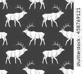 deer hand drawn seamless... | Shutterstock .eps vector #458769121