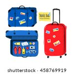 vector set of travel bag and... | Shutterstock .eps vector #458769919