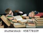 schoolboy and schoolgirl... | Shutterstock . vector #458778109