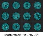 zodiac signs. set round zodiac... | Shutterstock .eps vector #458787214