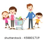 family shopping characters... | Shutterstock .eps vector #458801719