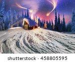 climbing to tourist wild alpine ... | Shutterstock . vector #458805595