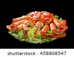 red king crab served on big... | Shutterstock . vector #458808547