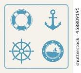 nautical icons set. lifebuoy ... | Shutterstock .eps vector #458809195