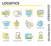 logistics icons  thin line ... | Shutterstock .eps vector #458809435