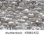 Stone Wall With Snow